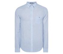 Slim Fit Leinenhemd mit Streifenmuster