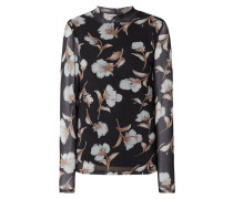 Blusenshirt aus Mesh mit floralem Muster