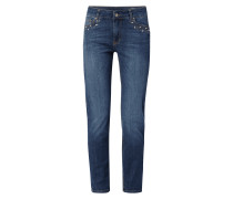 Slim Fit Jeans mit Ziersteinbesatz