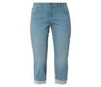 Stone Washed Caprijeans mit Stretch-Anteil