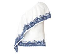 One-Shoulder-Blusenshirt aus Leinen