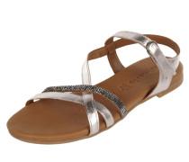 Sandalen aus Leder mit Ziersteinbesatz