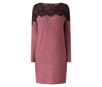 Kleid in Melange-Optik mit Spitzenbesatz