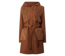 Mantel mit Woll-Anteil und Fake Fur