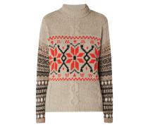Rollkragen-Pullover mit Norweger-Dessin
