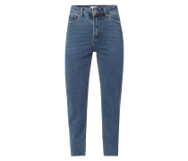Cropped Straight Fit Jeans mit Label-Patch