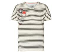 T-Shirt mit Logo-Details - gestreift