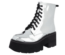 Boots in Metallicoptik mit Plateausohle