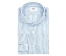 Modern Fit Leinenhemd mit Streifenmuster