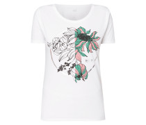 T-Shirt mit Blumen-Print und Logo