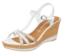 Wedges aus Leder in Metallicoptik