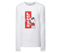Graphic Crew Sweatshirt Snoopy Red Tab White