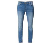 Stone Washed Slim Fit 5-Pocket-Jeans