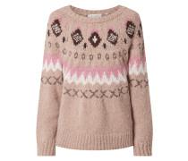 Pullover mit Norweger-Dessin und Effektgarn