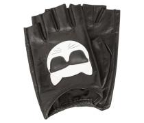Lederhandschuhe mit Logo-Aufnäher - fingerlos