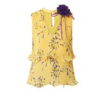Blusentop mit Plisseefalten und floralem Muster