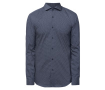 Slim Fit Business-Hemd mit Allover-Muster
