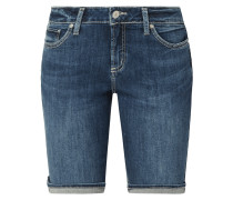 Jeansshorts mit Kontrastnähten