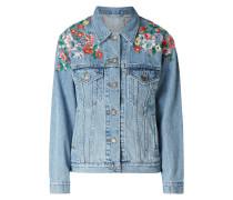 Trucker Jacket mit floralen Stickereien