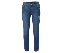 Ankle Cut Skinny Fit Jeans mit Stickereien