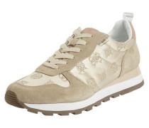 Sneaker aus Veloursleder und Satin