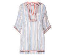 Kleid mit gestickten Zierborten und Webmuster
