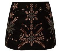 Minirock aus Samt mit ornamentalen Stickereien