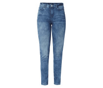 Stone Washed Skinny Fit High Waist Jeans