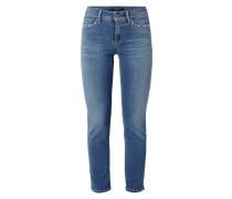 Stone Washed Slim Fit Jeans mit Zierperlen