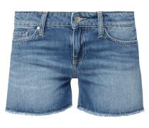 Stone Washed Straight Fit Jeansshorts mit Bandanas