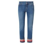 Stone Washed Slim Fit Jeans mit Zierborten