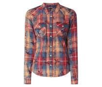 Slim Fit Bluse aus Baumwolle mit Allover-Muster