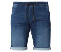 Stone Washed Slim Fit Jeansshorts mit Tunnelzug