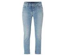 Stone Washed Slim Fit Jeans mit Nietenbesatz