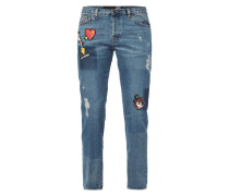 Destroyed Boyfriend Jeans mit Patches