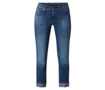 Slim Fit 7/8-Jeans im Used Look