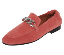 Loafer aus Veloursleder mit Zierkette