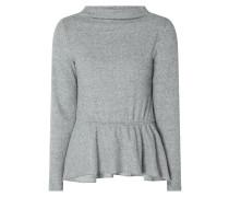 Pullover in Melangeoptik mit Schößchen
