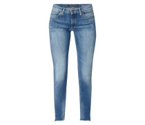 Stone Washed Slim Fit Jeans mit Used-Details