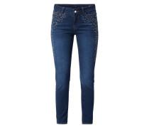 Stone Washed Skinny Fit Jeans mit Ziersteinen
