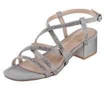 Sandalette mit gekreuzten Riemen und Ziersteinen