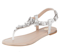 Sandalen in Metallicoptik mit Ziersteinen