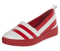 Slip-On Sneaker aus Leder mit Streifenmuster