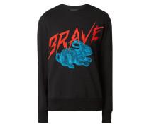 Sweatshirt mit Stickerei und Print