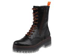 Boots in Leder-Optik mit Plateausohle
