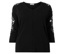 PLUS SIZE - Pullover mit floraler Spitze
