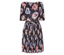 Kleid mit floralem Muster und Plisseefalten