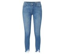 Skinny Fit Jeans mit ausgefransten Beinabschlüssen