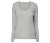 Serafino-Shirt aus Feinripp