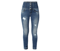 High Waist Skinny Fit Jeans im Used Look